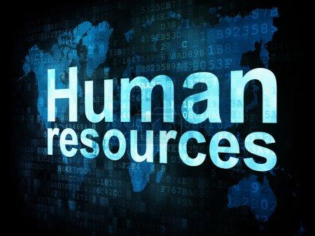 Photo pour Job, le concept de travail : pixélisé ressources humaines quelques mots sur écran numérique, rendu 3d - image libre de droit