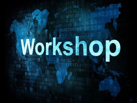 Photo pour Job, le concept de travail : atelier Mots pixélisé sur écran digital, rendu 3d - image libre de droit