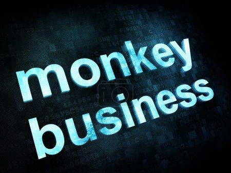 Photo pour Job, le concept de travail : pixélisé mots monkey business sur écran digital, rendu 3d - image libre de droit