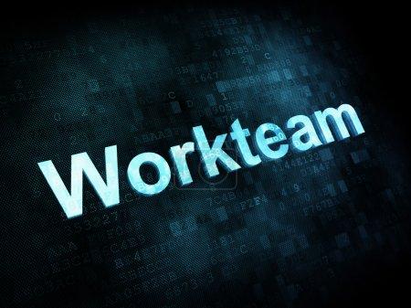 Photo pour Job, le concept de travail : workteam mots pixélisé sur écran digital, rendu 3d - image libre de droit