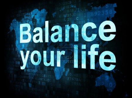 Photo pour Concept de style de vie : mots pixellisés Équilibrez votre vie sur l'écran numérique, rendu 3d - image libre de droit