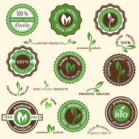 Illustration for Collection of organic labels and icons - Royalty Free Image