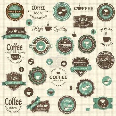Ilustración de Colección de etiquetas de café y elementos de diseño estilo vintage - Imagen libre de derechos