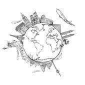 Kresba sen cestovat po celém světě v tabuli