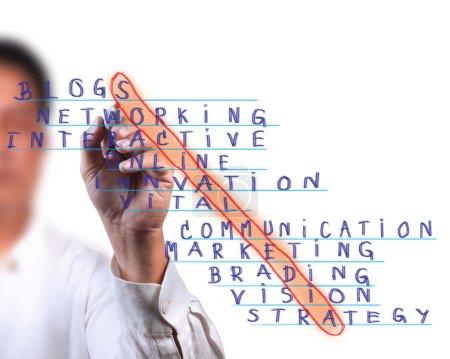 Photo pour Homme d'affaires sélectionnez mot de médias sociaux, concept de marketing de réseau social - image libre de droit