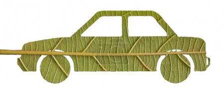 Green car from leave, eco concept