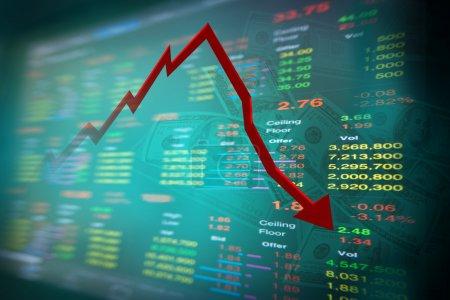 fallende Dollarnote und Grafik des Aktienmarktes mit Stock Board