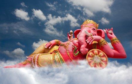 Pink ganecha statue in relaxing at Wat Samarn, Chachoengsao, Tha