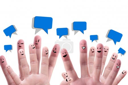 Photo for Social network concept of Happy group of finger faces with speech bubbles - Royalty Free Image