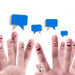 Social network concept of Happy group of finger fa...
