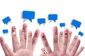 """Постер, картина, фотообои """"Концепция социальной сети Happy группы палец лица с Шпее"""""""
