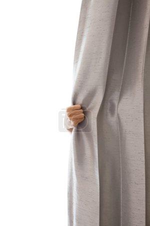 Photo pour Ouvrir le Rideau et la main - image libre de droit