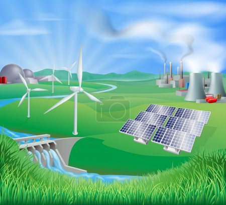 Photo for Illustration of many different types of power generation, including nuclear, fossil fuel or coal, and renewable energy or sustainable energy sources such as wind power or wind turbines, photovoltaic cells or solar panels, and hydro electric or water - Royalty Free Image