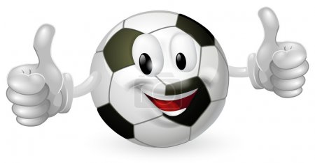 Illustration for Illustration of a cute happy soccer football ball mascot man smiling and giving a thumbs up - Royalty Free Image