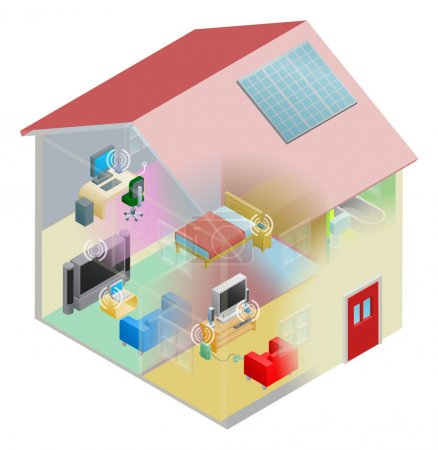 Illustration for A home internet network with wireless and computing devices connected in a home group local area network. - Royalty Free Image