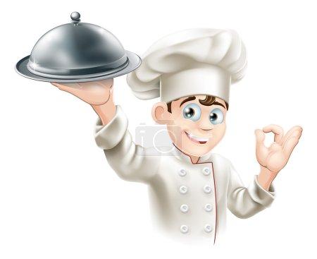 Illustration pour Illustration de bande dessinée d'un chef de restaurant heureux tenant un plateau de nourriture en métal - image libre de droit