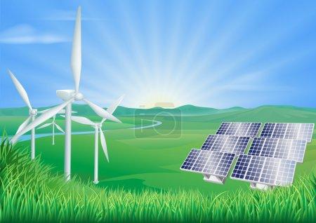 Illustration pour Illustration d'éoliennes et de panneaux solaires générant des énergies renouvelables - image libre de droit