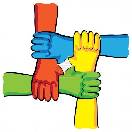 Illustration pour Connexion symbolique de mains de travail d'équipe illustration - image libre de droit