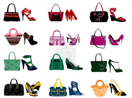 Illustration pour Sacs et chaussures de mode - image libre de droit