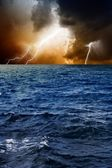 Lightnings in sky, sea