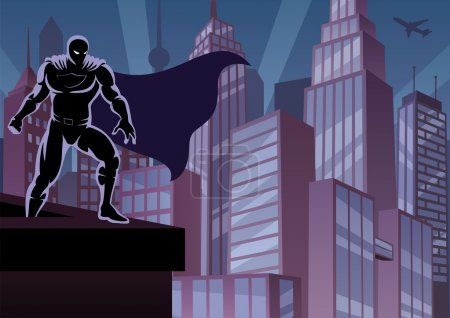 Illustration for Superhero watching over the city. No transparency used. Basic (linear) gradients. A4 proportions. - Royalty Free Image