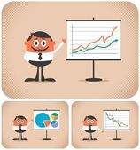 Cartoon character making a presentation The illustration is in 3 versions You can replace the chart with your own message No transparency and gradients used