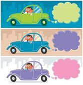 Cartoon character driving his car Use the smoke as a copy space for your message The illustration is in 3 versions The size of each banner is in 1:3 ratio No transparency and gradients used