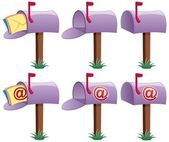 Cartoon illustration of mailbox in 6 versions 3 of them are conceptual illustrations for e-mail No transparency used Basic (linear) gradients