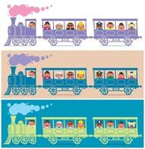 Steam train full of cartoon characters It is in 3 color versions No transparency and gradients used