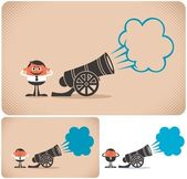 Cannon and cannoneer The illustration is in 3 versions No transparency and gradients used