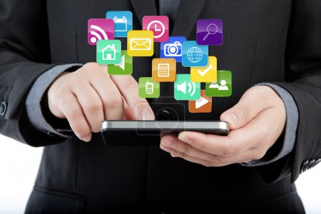 Business man use mobile phone with colorful application icons