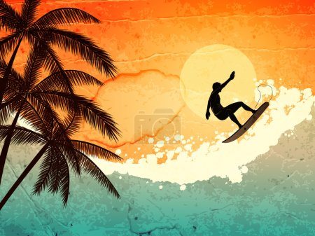Illustration for Illustration of tropical sea, surfer and palms at sunset - Royalty Free Image