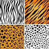 Set of 4 animal skins seamless patterns