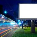 Billboard in the city street, blank screen, clippi...