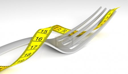 Fork with measuring tape