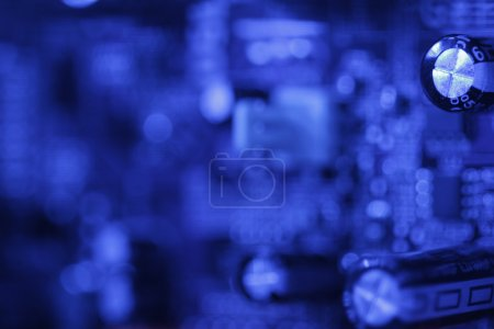 Photo for Blue toned circuit board with shallow dof - Royalty Free Image