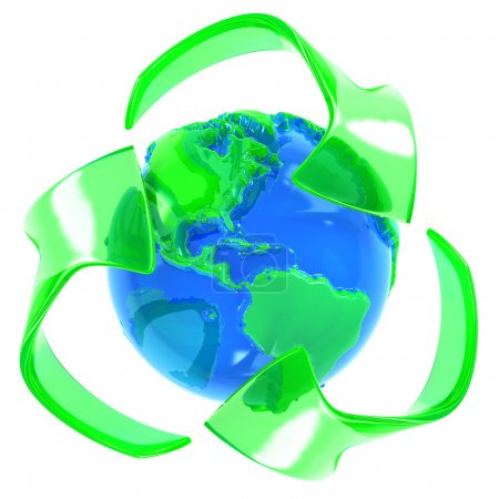 Recycle symbol with earth