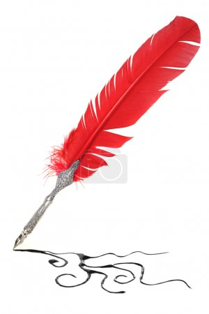 Photo for Red and silver quill drawing - Royalty Free Image