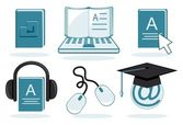 E-learning icons without gradients