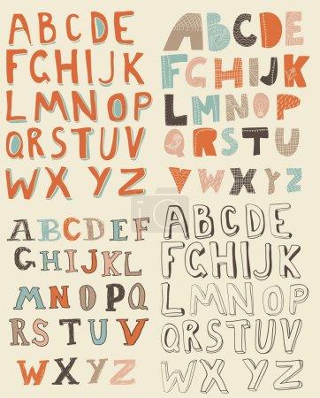 Illustration pour Ensemble d'alphabets latins rétro grungy - image libre de droit