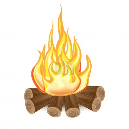 Illustration for Single campfire isolated on white background - Royalty Free Image