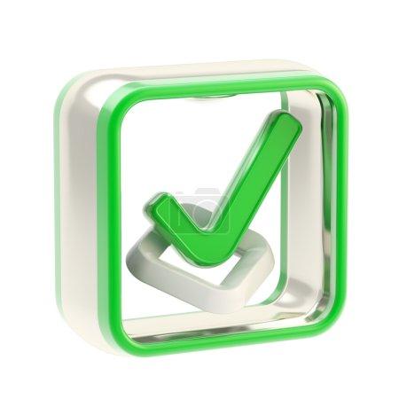 Photo pour Check liste icône brillant comme emblème application isolé sur blanc - image libre de droit