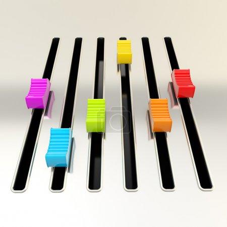 Photo pour DJ et musique : panneau mélangeur métallique Empty avec rainbow curseurs de couleur - image libre de droit