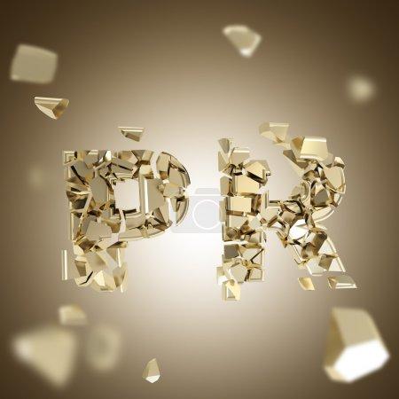 Photo pour Explosion PR comme fracassé et brisé en morceaux d'or mot, fond dimensionnel profondeur - image libre de droit