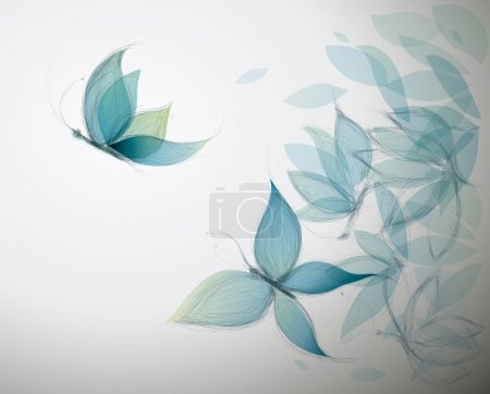 Illustration for Surreal sketch of Blue Flowers like Butterflies - Royalty Free Image