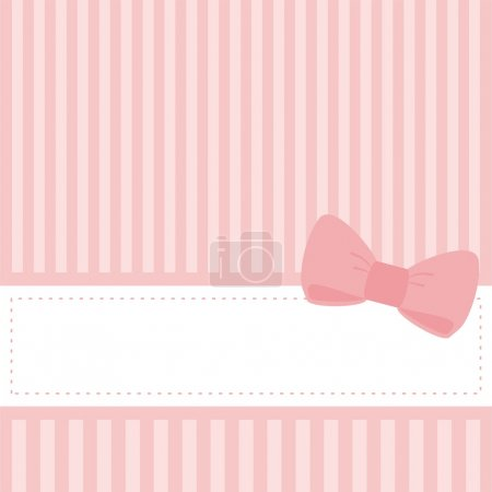 Sweet pink vector wedding card or baby shower invitation with bow