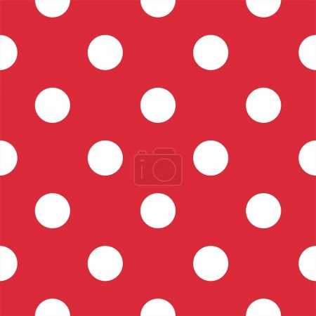 Illustration for Retro vector pattern with big white polka dots on red background - retro seamless pattern for backgrounds, blogs, www, scrapbooks, party or baby shower invitations and wedding cards. - Royalty Free Image
