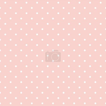 Illustration for Vector seamless pattern with small white polka dots on a pastel pink background. For cards, albums, backgrounds, arts, crafts, fabrics, decorating or scrapbooks. - Royalty Free Image