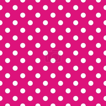 Illustration for Vector seamless pattern with white polka dots on a neon pink background. For cards, albums, backgrounds, arts, crafts, fabrics, decorating or scrapbooks. - Royalty Free Image
