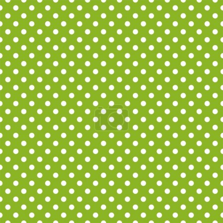 Retro seamless vector pattern with polka dots on spring green background